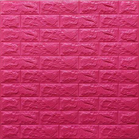 Самоклеющаяся 3D панель под темно-розовый кирпич 700x770x7мм