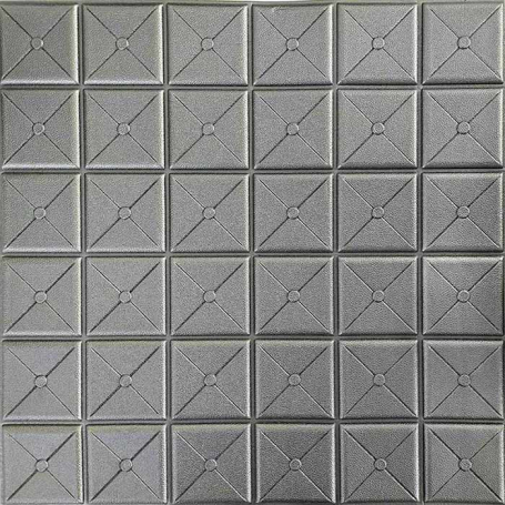 Самоклеющаяся 3D панель серая дельта 700x700x8мм