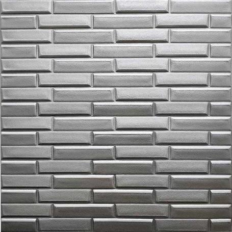Самоклеющаяся 3D панель под серебряный камень 700x770x7мм