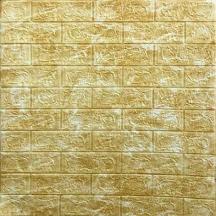 Самоклеющаяся 3D панель под кирпич золотой мрамор 700x770x5мм