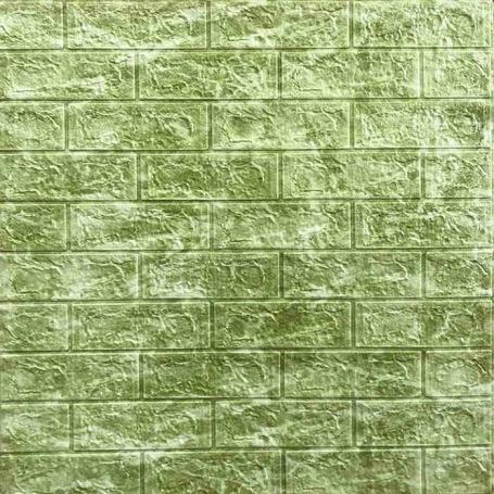 Самоклеющаяся 3D панель под кирпич оливковый мрамор 700x770x5мм