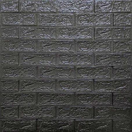 Самоклеюча 3D панель під чорну цеглу 700x770x5мм