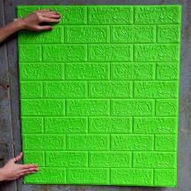 Самоклеющаяся 3D панель под зеленый кирпич 700x770x5мм