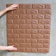 Самоклеющаяся 3D панель под коричневый кирпич 700x770x7мм