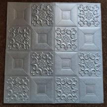 Самоклеющаяся 3D панель серебряный орнамент 700x700x5мм