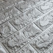 Самоклеющаяся 3D панель под серебряный кирпич 700x770x7мм