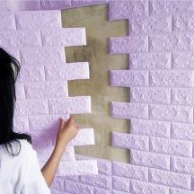 Самоклеюча 3D панель під cвітло-фіолетову цеглу 700x770x3мм