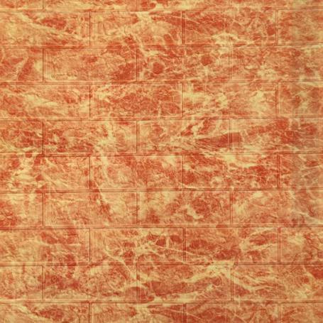 Самоклеющаяся 3D панель под кирпич коричневый мрамор 700x770x5мм