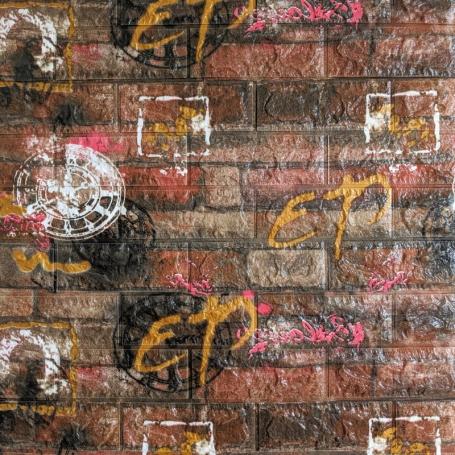 Самоклеющаяся 3D панель под оранжевый кирпич граффити 700x770x6мм