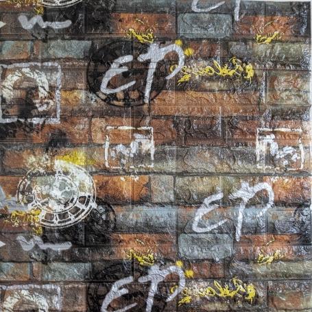 Самоклеющаяся 3D панель под серо-оранжевый кирпич граффити 700x770x6мм