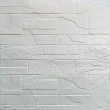 Самоклеющаяся 3D панель под белый битый кирпич 700x770x6мм