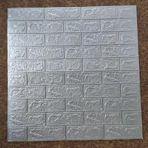 Самоклеющаяся 3D панель под серебряный кирпич 700x770x3мм