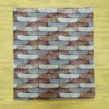 Самоклеющаяся 3D панель под коричневый кирпич песчаник 700x770x4мм