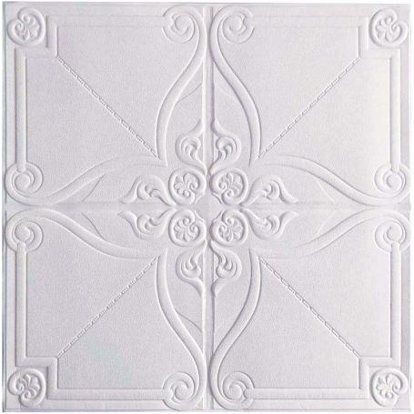 Самоклеющаяся 3D панель белая лотос 700x700x5мм
