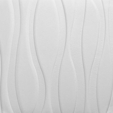 Самоклеющаяся 3D панель белая большие волны 700x700x7мм