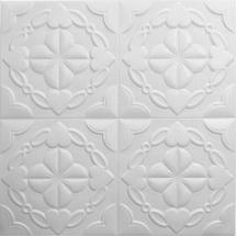Самоклеющаяся 3D панель белая клевер 700x700x9мм