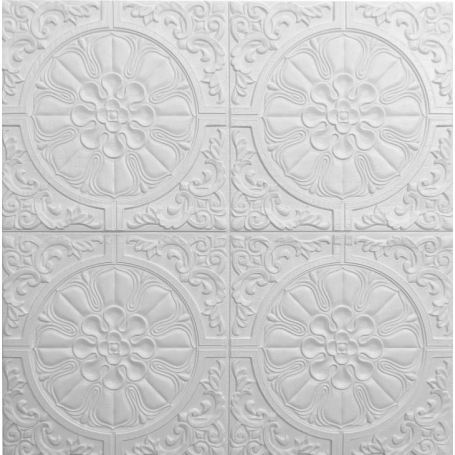 Самоклеющаяся 3D панель белая солнце 700x700x7.5мм